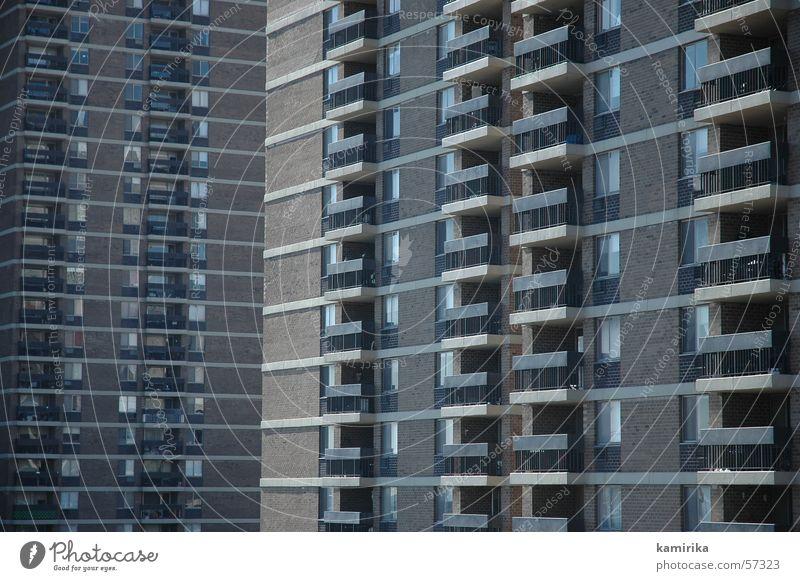 strukturalistisch New York City Fassade Gebäude Stadt Haus Wand Balkon Fenster Strukturen & Formen building Leben living Häusliches Leben structure balcony