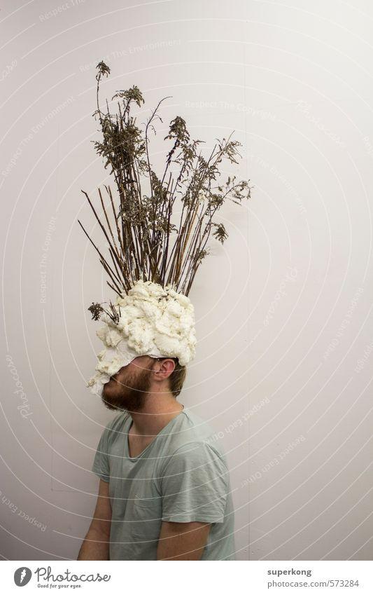 Strauchkopf Künstler Ausstellung Museum Maske verkleidet Hut Helm verhüllen Holz alt weiß Gefühle Stimmung Tugend Laster demütig Feigheit falsch ignorant Kostüm