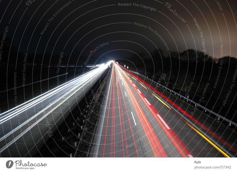 A1 in der nacht Straße Lampe Streifen Autobahn Teer Rücklicht Bundesautobahn