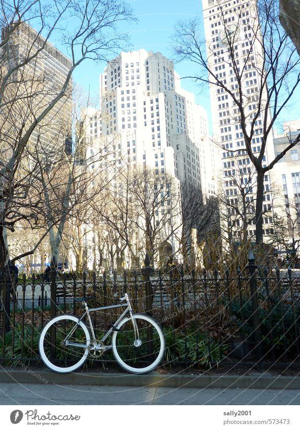 NYC bike tour Stadt weiß Bewegung Sport Gebäude Fassade elegant Hochhaus Fahrrad stehen warten Geschwindigkeit ästhetisch einzigartig fahren Fahrradfahren