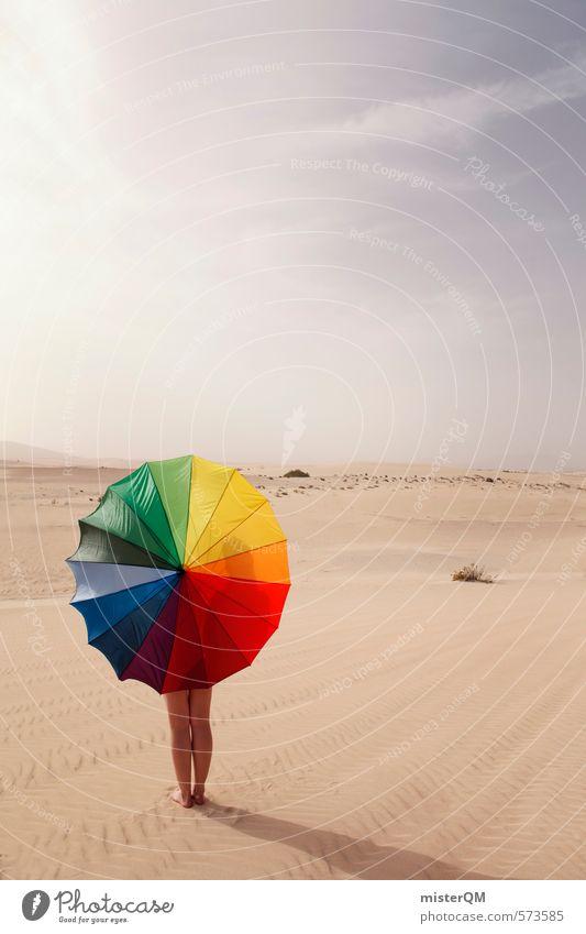 I.love.FV XXIV Himmel Himmel (Jenseits) rot Einsamkeit Ferne gelb Kunst Zufriedenheit ästhetisch Kreativität Idee Grafik u. Illustration Regenschirm Wüste Stranddüne regenbogenfarben