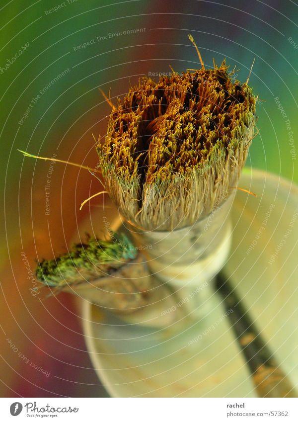 Pinsel, putzbedürftig [1] grün rot gelb Farbe Kunst dreckig violett Bild türkis Gemälde Karton Pinsel Becher Untergrund gebraucht Oliven