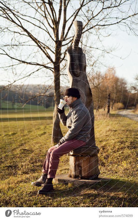 Tea Time Mensch Natur Jugendliche Baum Erholung Landschaft ruhig 18-30 Jahre Junger Mann Erwachsene Umwelt Leben Wiese Herbst Freiheit Stil