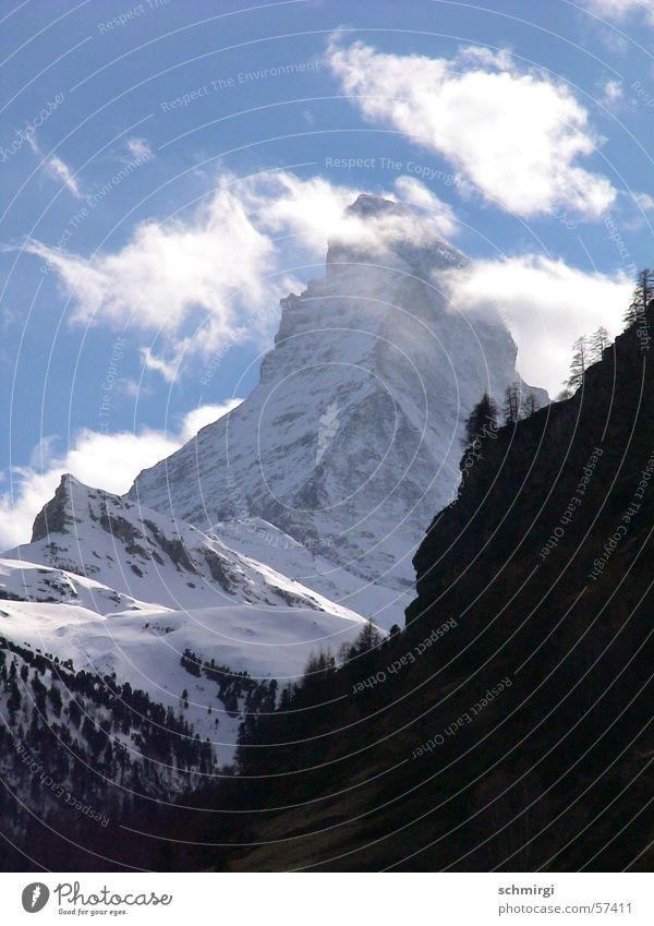 Matterhorn CH Schweiz Wolken Berge u. Gebirge weiß schön himmlisch Winter Alpen Schnee Natur blau Stein Wetter