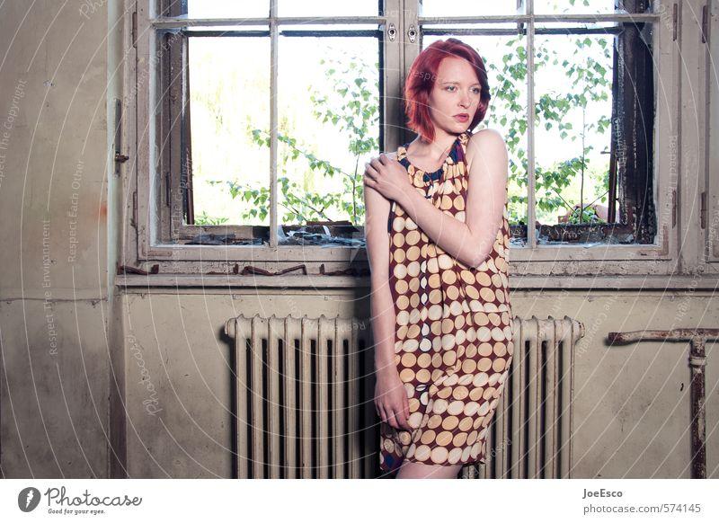 #574145 Mensch Frau Jugendliche schön Einsamkeit ruhig 18-30 Jahre Erwachsene Fenster Wärme Leben Traurigkeit Mode träumen Wohnung Raum