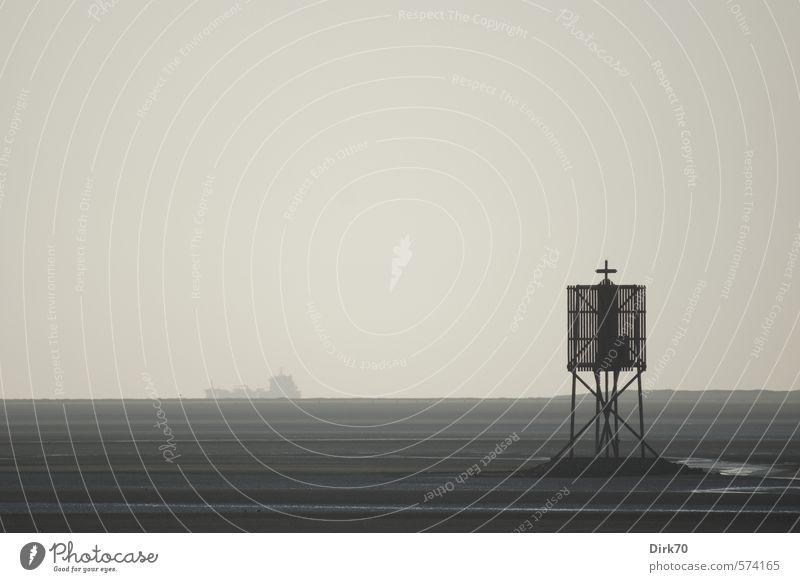 Abschied in gedeckten Farben Strand Meer Insel Landschaft Horizont Frühling schlechtes Wetter Küste Nordsee Wattenmeer Hamburg Neuwerk Schifffahrt