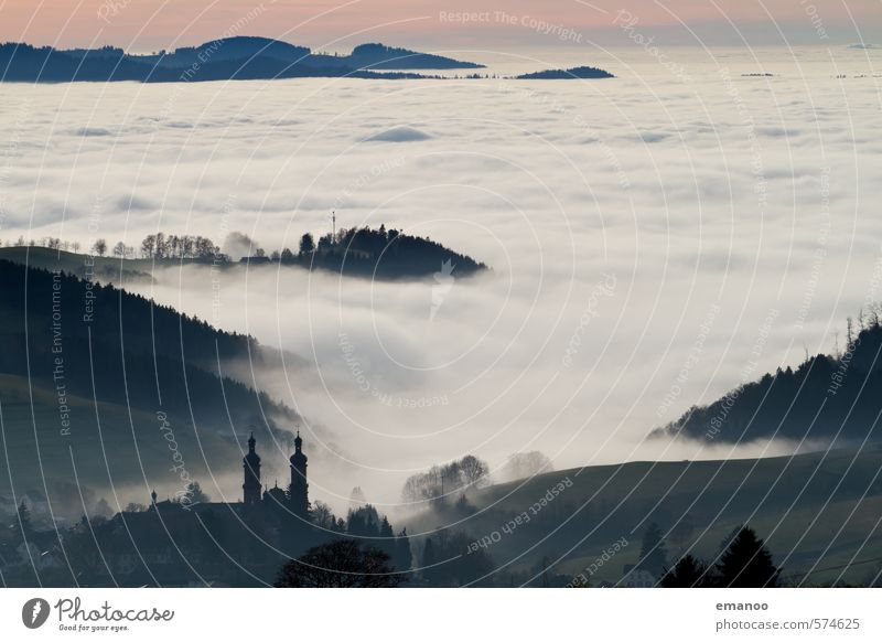 Stadt über den Wolken Himmel Natur Ferien & Urlaub & Reisen Landschaft Haus Winter Wald Berge u. Gebirge Herbst Horizont Wetter Nebel Klima Tourismus
