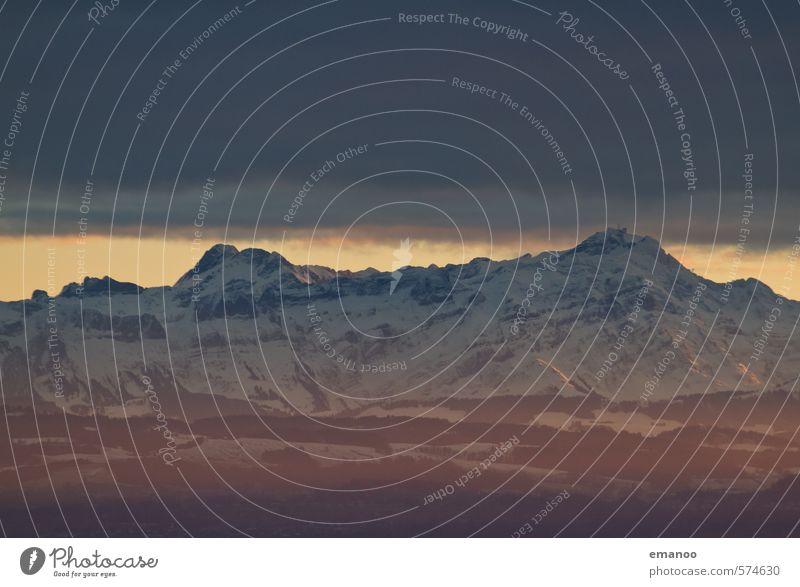 Säntis und der kleine Bruder Ferien & Urlaub & Reisen Ferne Winter Schnee Berge u. Gebirge wandern Natur Landschaft Himmel Wolken Klima Wetter Eis Frost Hügel