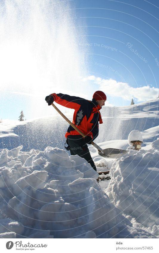 Schnee schaufeln Mann Sonne Winter kalt Arbeit & Erwerbstätigkeit Wege & Pfade Eis Aussicht Jacke Schneelandschaft Schaufel freischaufeln
