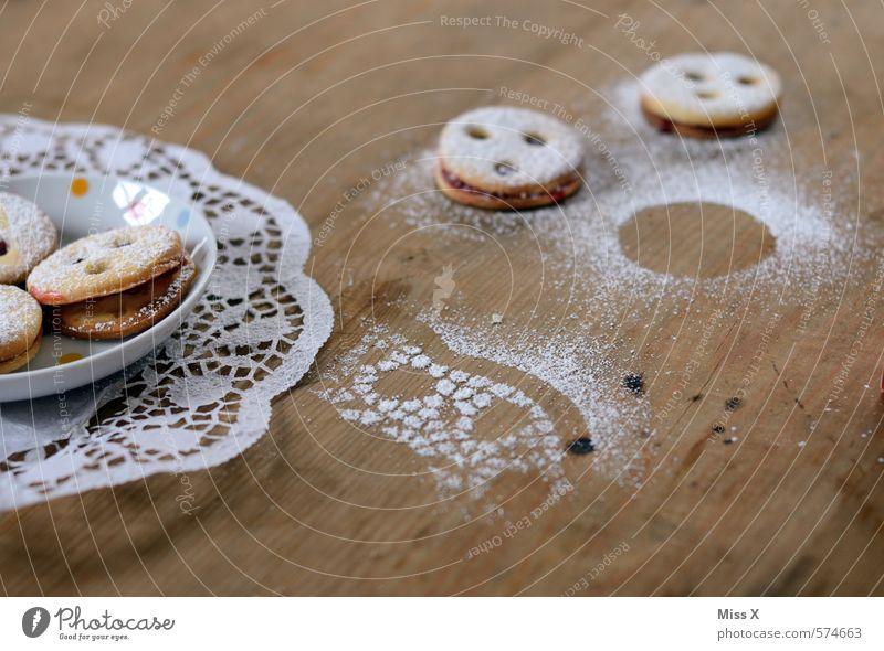 Frühstück für PC Lebensmittel Teigwaren Backwaren Süßwaren Marmelade Ernährung Kaffeetrinken Tisch Küche lecker süß Plätzchen Puderzucker Teller linzer auge