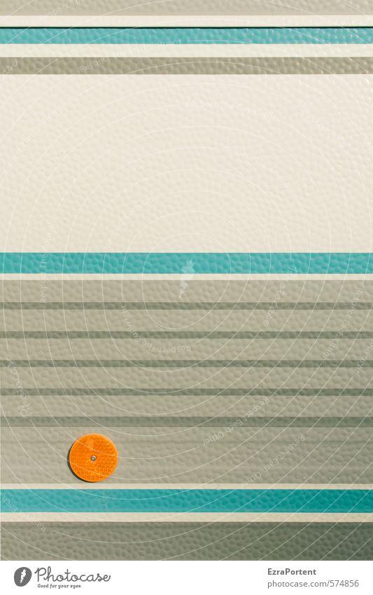 Notenblatt Kunst Wohnmobil Zeichen blau grau orange weiß Linie viele Reflektor gerade rund Karosserie Zeile Streifen Symmetrie Geometrie Verkehrsmittel