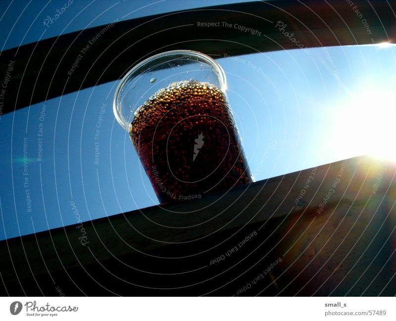 My coke Cola Blauer Himmel Getränk Licht plastic glass thursty sun light bubbles