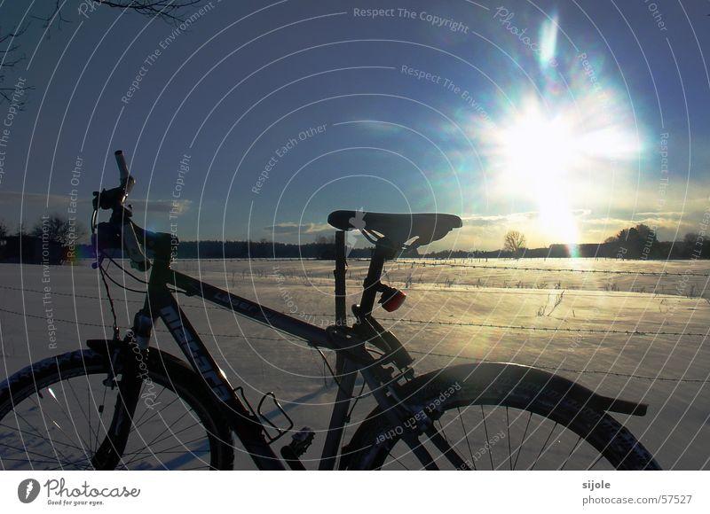 ... die letzten Reste Fahrrad weiß kalt Winter schwarz Stacheldraht Wintertag Ferien & Urlaub & Reisen Schneewehe Sonne Landschaft blau himmer