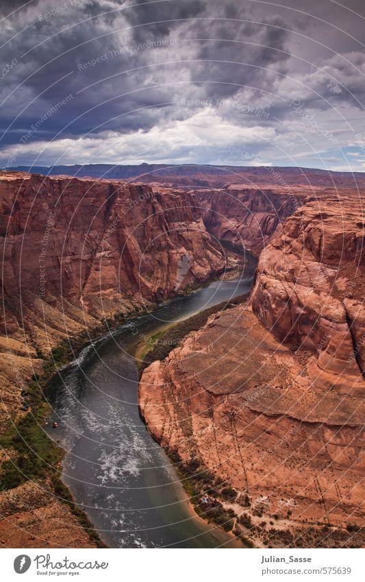 Wunder der Natur Landschaft Erde Wasser Himmel Wolken Gewitterwolken Sommer Unwetter Wind Berge u. Gebirge Schlucht Flussufer Begeisterung Grand Canyon Page
