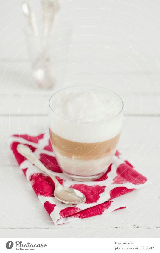 Trendgetränk Milcherzeugnisse Ernährung Frühstück Kaffeetrinken Getränk Heißgetränk Latte Macchiato Glas Löffel lecker Kaffeelöffel Frühstückstisch Morgen