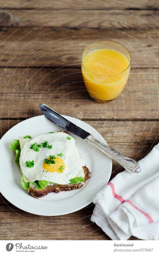 Frühstück, zweiter Teil Gesunde Ernährung Gesundheit Lebensmittel Foodfotografie Glas frisch Getränk lecker Teller Ei Abendessen Messer Salat