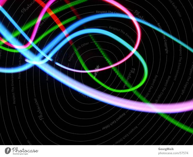 Geschenkschleife Neonlicht Schleife Licht mehrfarbig florid dunkel schwarz Spiegel hell-blau grün hellgrün magenta rot purpur rosa Taschenlaser Laser