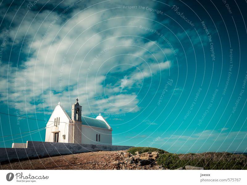 Anschluss Himmel blau alt schön grün weiß Sommer Landschaft ruhig Wolken Wand Mauer Religion & Glaube braun Horizont Erde