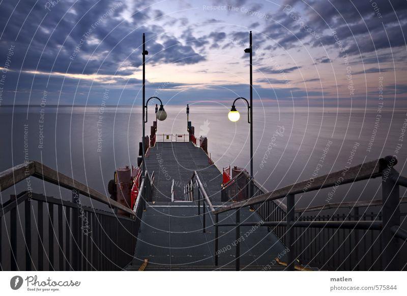 off/on Landschaft Himmel Wolken Horizont Sonnenaufgang Sonnenuntergang Herbst Schönes Wetter Küste Meer Menschenleer Brücke blau grau rosa Anlegestelle