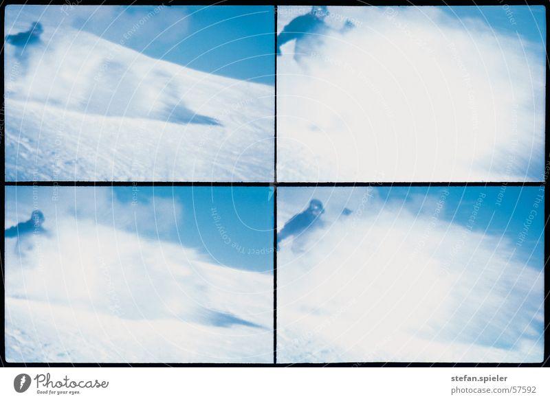 Schneestaub Staub Berghang weiß Pulverschnee kalt Geschwindigkeit Wolken aufwirbeln Horizont Berge u. Gebirge abwärts blau Blauer Himmel Bremse Wind Schwung
