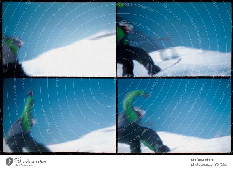 imma touch the sky Himmel blau weiß kalt Bewegung Schnee springen hoch Geschwindigkeit Körperhaltung Blauer Himmel Snowboard Trick Skipiste Snowboarding Snowboarder