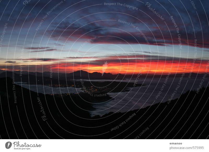sardinian sunset Himmel Natur Ferien & Urlaub & Reisen blau Wasser Sommer Sonne Meer rot Landschaft Wolken Strand Ferne dunkel Berge u. Gebirge Wärme