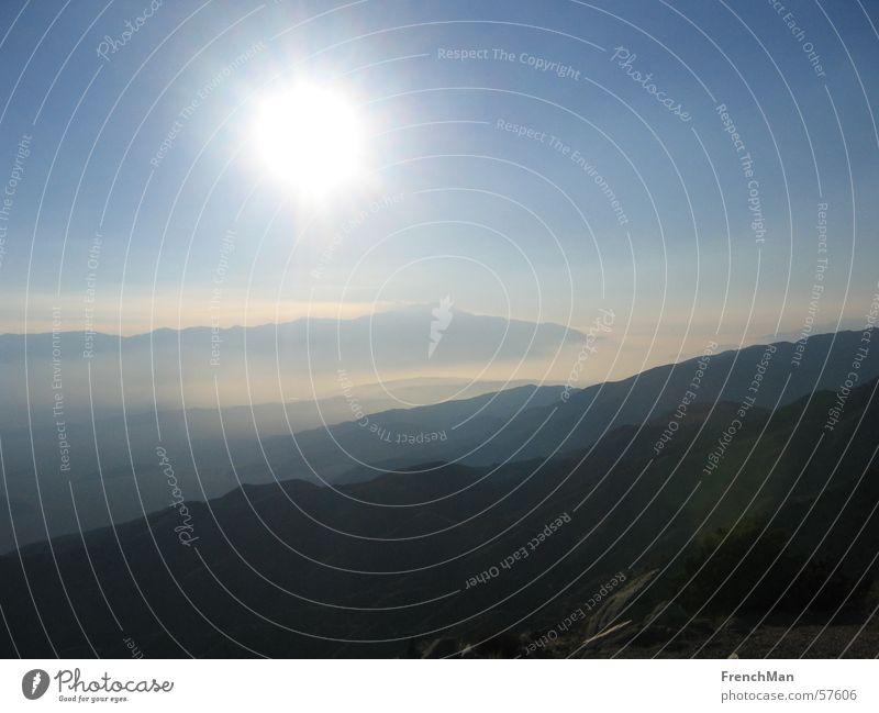 California' s mountains Himmel Sonne blau Ferne Berge u. Gebirge Freiheit Landschaft hell Beleuchtung Nebel USA Wüste Klarheit Hügel Kalifornien Smog