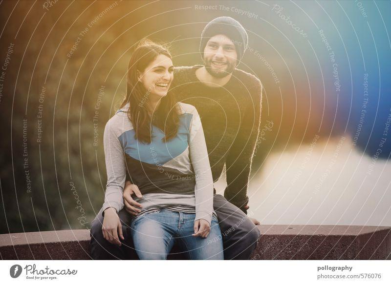be together I Mensch Frau Jugendliche Mann Pflanze Junge Frau Freude 18-30 Jahre Junger Mann Erwachsene Leben Gefühle feminin lachen Glück See
