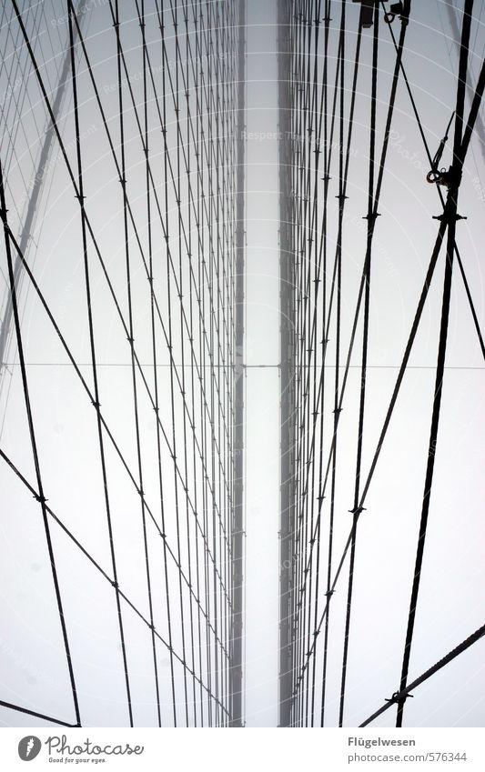 Brooklyn Bridge bei Nebel Natur Ferien & Urlaub & Reisen Stadt Winter Umwelt Regen Wetter sitzen Tourismus hoch Ausflug Brücke Abenteuer Skyline Stadtzentrum
