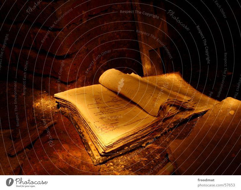 Buch Schichtarbeit vergilbt dreckig Staub Verfall antik Blatt Bibliothek bezaubernd Handbuch Nostalgie Mauer Backstein mystisch Langzeitbelichtung lesen