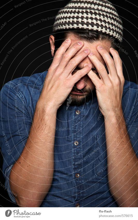 ten-fingers thinking lernen Student Arbeitslosigkeit Feierabend maskulin Junger Mann Jugendliche Erwachsene 1 Mensch 18-30 Jahre 30-45 Jahre Schauspieler Hemd