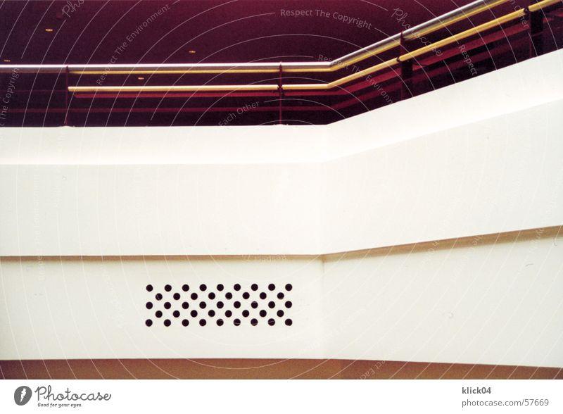 strukturen weiß rot Wand Linie Metall Ecke Punkt Geländer Konstruktion bewegungslos graphisch