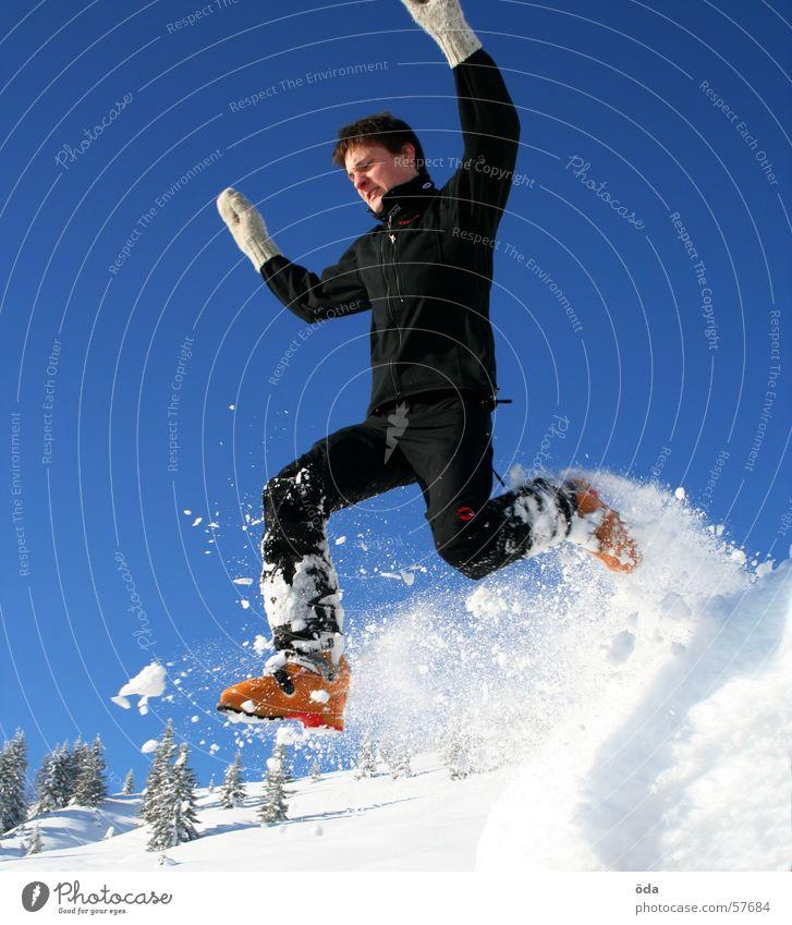cold jump springen Mann kalt Winter Schnee Handschuhe Bewegung skisschuhe fallen