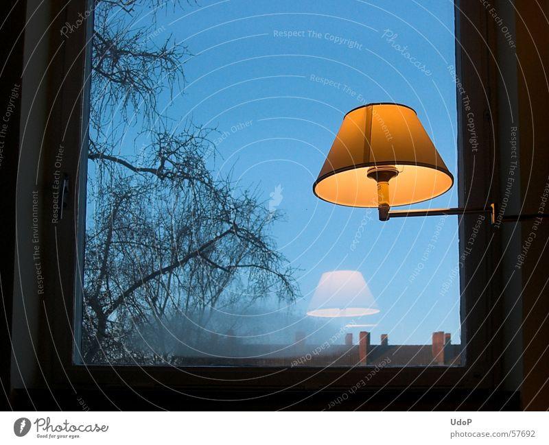 Guten Morgen Berlin Lampe Fenster gelb Baum kalt unpersönlich Himmel blau orange Reflexion & Spiegelung