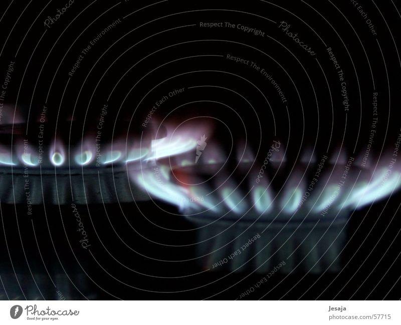 Brandheiß Feuer Grill Gas Herd & Backofen blau Flamme dunkel kochen & garen Wärme brennen Licht Küche glühen Urelemente Manuelles Küchengerät brennbar