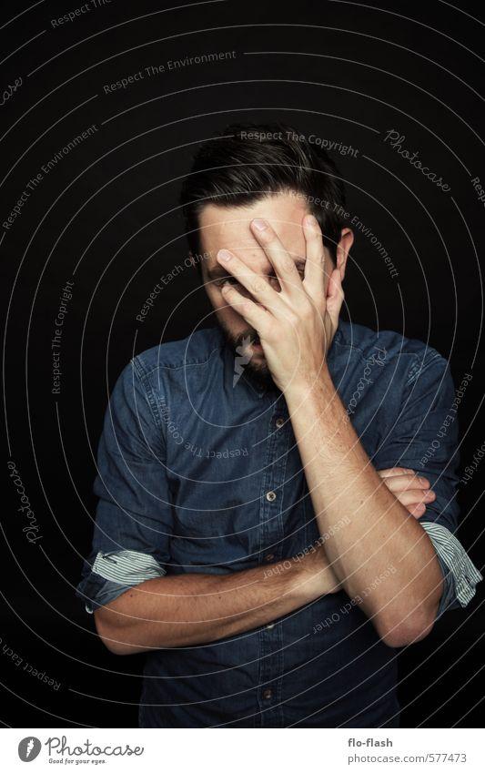 heavy thinking ... Mensch Jugendliche Mann blau ruhig schwarz 18-30 Jahre Junger Mann Erwachsene Leben Traurigkeit Denken maskulin stehen authentisch lernen