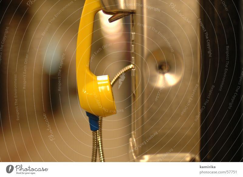 calling Telefon gelb Elektrisches Gerät Apparatur Telefonhörer hören liegen phone communicate Technik & Technologie Kabel