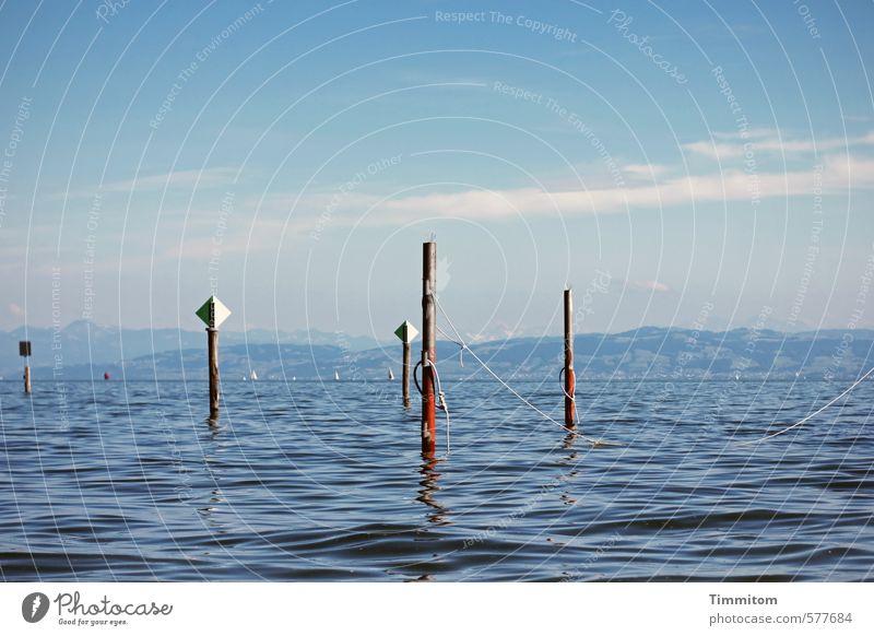 Mal sehen. Himmel Ferien & Urlaub & Reisen blau Wasser Sommer ruhig Wolken Umwelt Gefühle Holz See natürlich Wellen Zufriedenheit Schilder & Markierungen