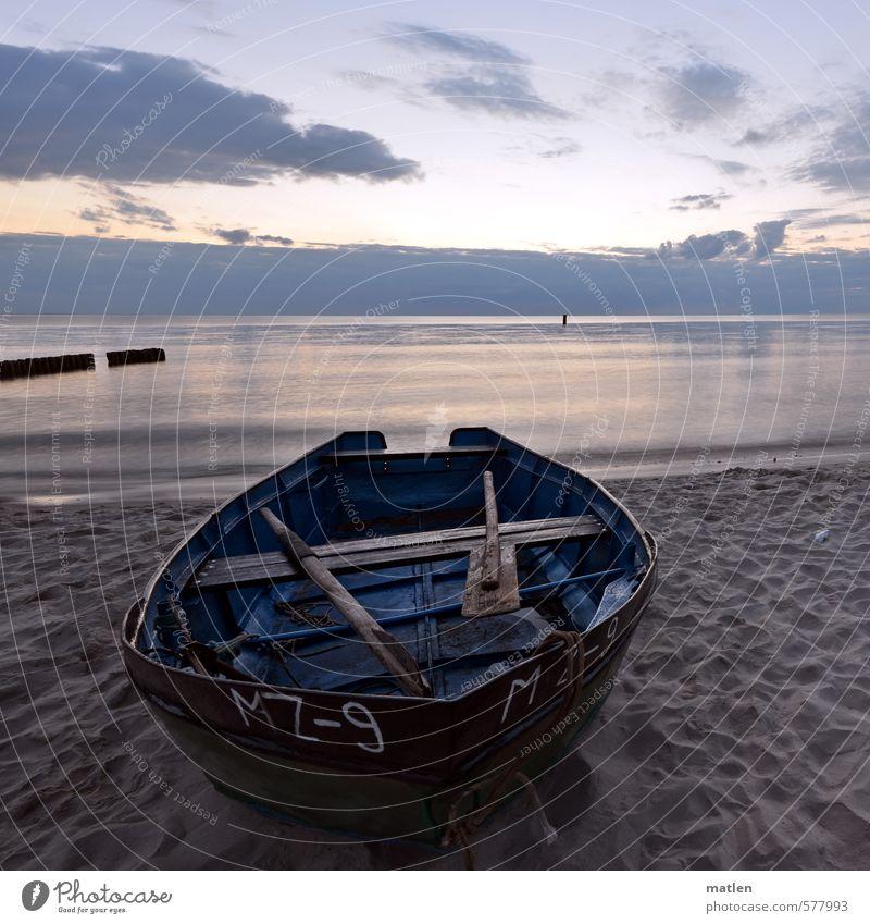 Kahn Landschaft Sand Wasser Himmel Wolken Nachthimmel Horizont Sonnenaufgang Sonnenuntergang Wetter Schönes Wetter Küste Strand Meer Bootsfahrt Fischerboot