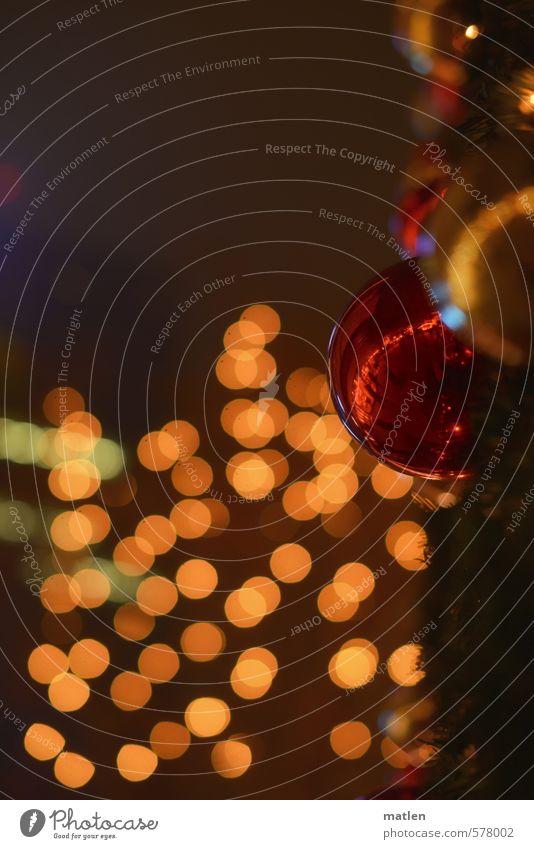 Glitzer Winter Nebel leuchten braun rot Weihnachtskugel glitzern Bokeh Farbfoto Gedeckte Farben Außenaufnahme Menschenleer Textfreiraum links Textfreiraum oben