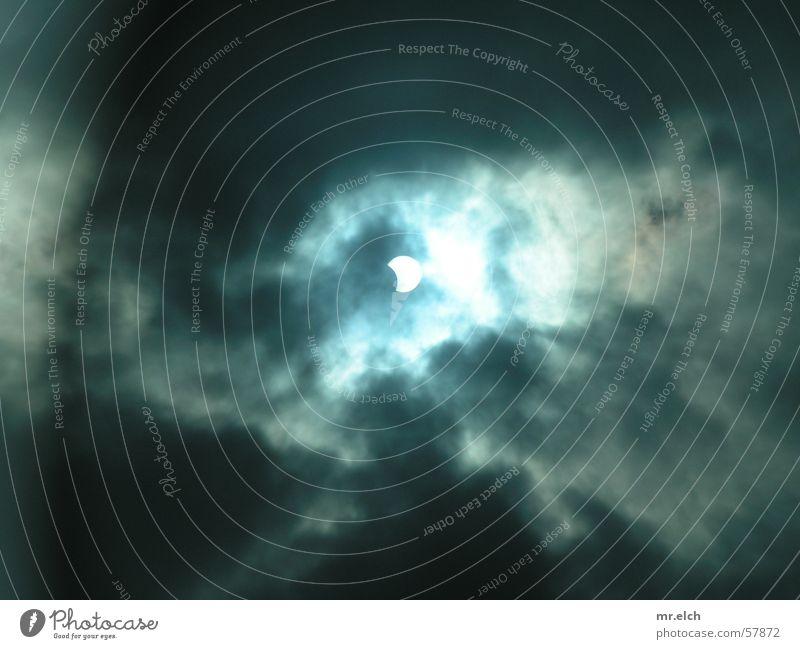 Sonnenfinsternis Himmel blau Wolken dunkel grau Graffiti Beleuchtung Angst Wetter Sturm Zeichen Weltall Mond Symbole & Metaphern Unwetter