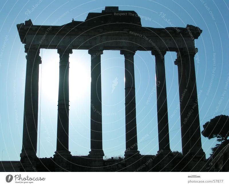 Forum Romanum alt blau weiß schwarz dunkel Linie Europa Macht Italien Denkmal Säule antik Hauptstadt Rom monumental