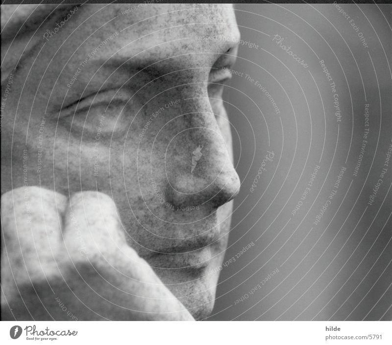 thinking Statue Friedhof Porträt Frau Freizeit & Hobby Gesicht Stein