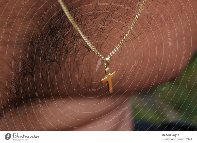 Behaartes Kreuz Mann Religion & Glaube gold Rücken Kette