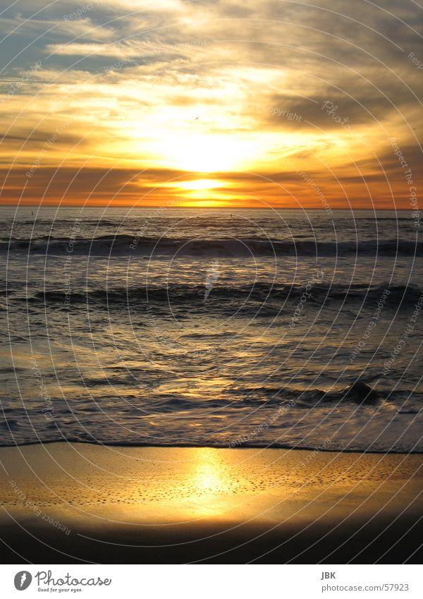 Santa Monica Strand Meer Sonnenuntergang Abendsonne Wellen Reflexion & Spiegelung