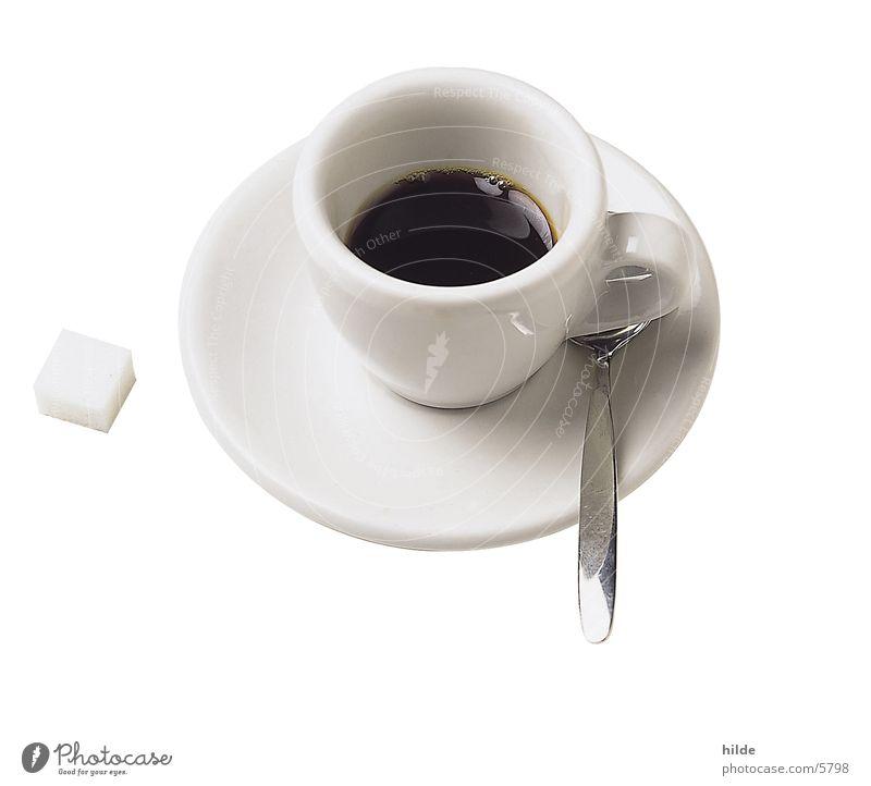 café weiß Erholung schwarz Getränk Kaffee Café Tasse Teller Löffel Espresso Würfelzucker