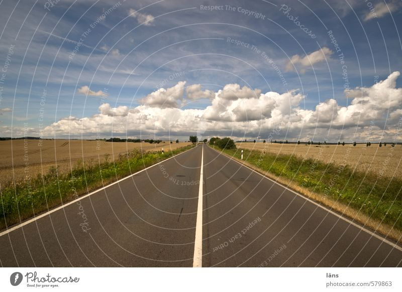 Start Landschaft Himmel Wolken Horizont Sommer Schönes Wetter Feld Straße Linie Streifen Umwelt Asphalt gerade Schilder & Markierungen Markierungslinie Farbfoto
