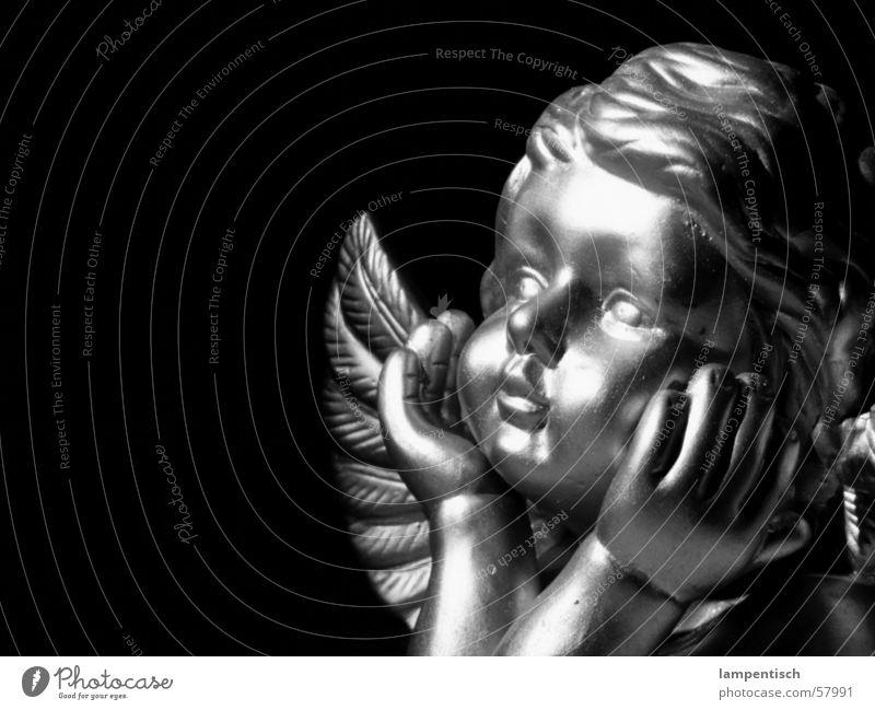 Engel Kind Weihnachten & Advent dunkel träumen Denken glänzend Flügel unschuldig Angelrute