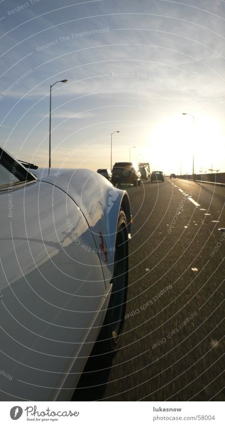 On the road Straße PKW Wärme Verkehr Physik Kran Abenddämmerung Kalifornien San Francisco Poliert
