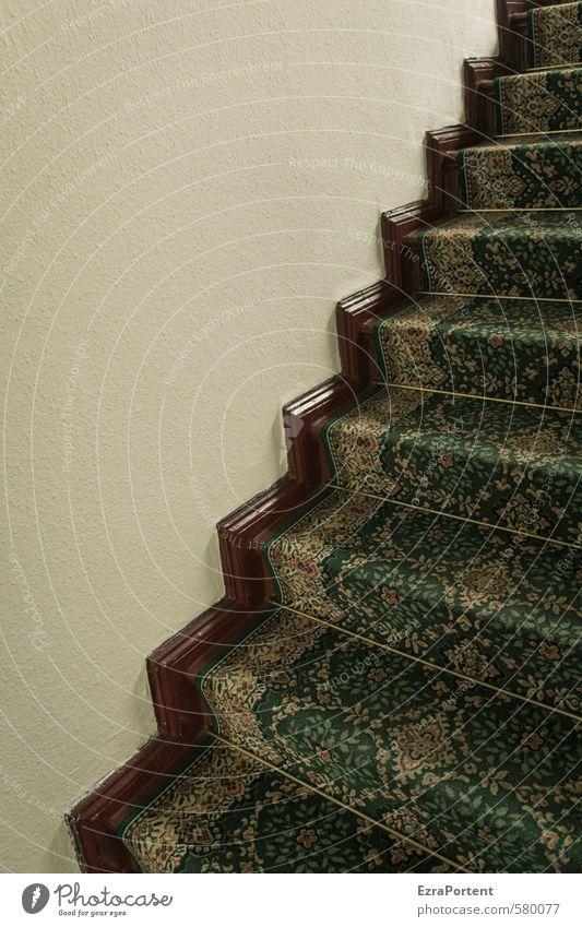 zickzack Häusliches Leben Wohnung Innenarchitektur Dekoration & Verzierung Raum Mauer Wand Treppe Ornament Linie Streifen braun grün Teppich Falte Zickzack